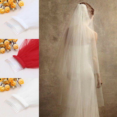 1 Layer Soft Bride 3M Long Veil Wedding Bridal Church Cathedral With Comb Hot