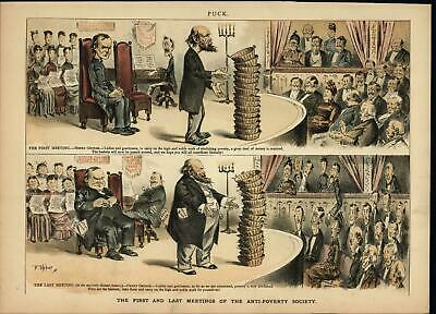 Corrupt Anti Poverty Meeting Theft 1887 antique color lithograph print