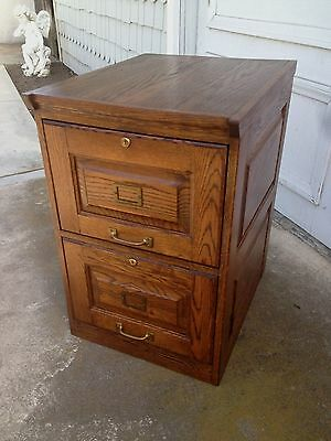 Vintage Dark Oak Raised Panel Two Drawer Legal and letter File Cabinet