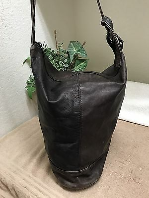 Vintage Women's Brown Genuine Leather Slingback Shoulder Handbag Bag Rugged Lg