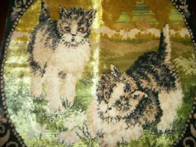 Vintage Chic Italian Velvet Tapestry Pillow Cover Cats Kittens Shabby Paris Apt