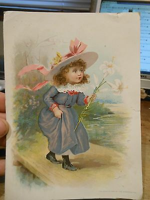 1893 Easter Girl Victorian Era Trade Card Lion Coffee Woolson Spice Toledo Ohio