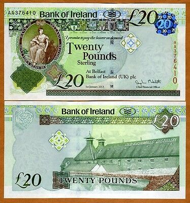 Bank of Ireland, Northern, 20 pounds, 2013, P-88, AA-Prefix, UNC