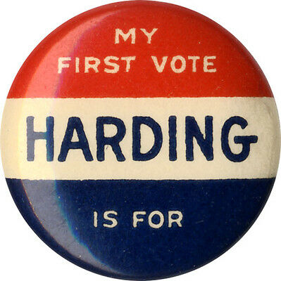 1920 Female Voter MY FIRST VOTE is for Warren HARDING Campaign Button (4661)