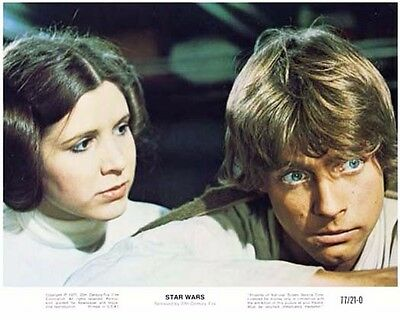 STAR WARS color still MARK HAMIL & CARRIE FISHER -- (n921)
