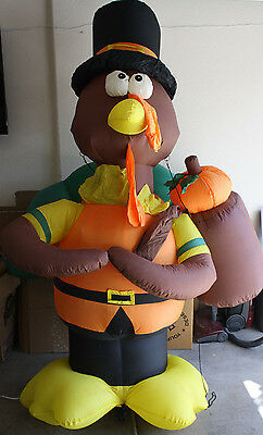 GEMMY Thanksgiving Inflatable 7' Standing Turkey Airblown Lights Pilgrim w/ Hat