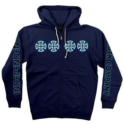 Independent Trucks STACKED COLOR ZIP UP Skateboard Hoodie NAVY LARGE