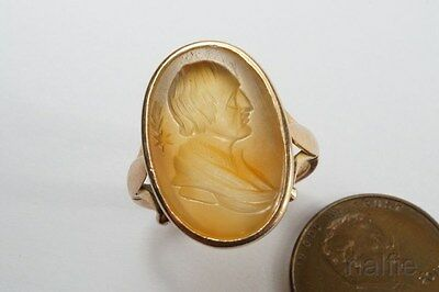 QUALITY ANTIQUE ENGLISH 15K GOLD HALLEY'S COMET SIGNET RING c1830's