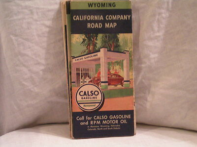 1930's Wyoming Road Map From Calso Gasoline