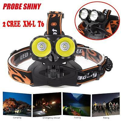 10000LM 2x CREE XM-L T6 LED Rechargeable Head Torch Headlamp Light Flashlight