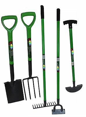 Carbon Steel 5pcs Gardening Tools Set Rake Fork Hoe Spade Edge Iron Set