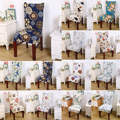 Removable Stretch Elastic Slipcovers Short Dining Room Stool Chair Seat Cover #F
