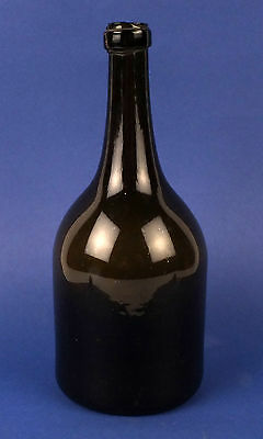 Antique 19thC Dark Green Dutch Glass Wine Bottle Flask
