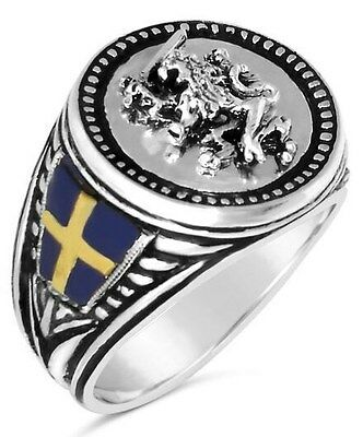 Swedish Lion  Mens Coin ring   Sterling silver .925