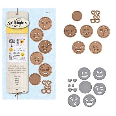 Spellbinders Lot 9 pc Smiley Faces Set Heart Emoticons Happy Face Emoji Movie 😀