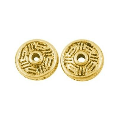 Packet 50+ Antique Gold Tibetan 2 x 7mm Bicone Spacer Beads HA15215