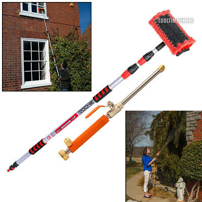 Voche® 3Metre Telescopic Water Fed Wash Brush + High Pressure Power Washer Lance