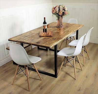 Industrial Dining Table Rustic solid Kitchen farmhouse Steel Reclaimed Chelsea