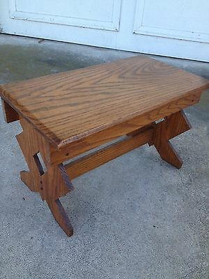 Antique Primitive Solid Oak Wood Bench