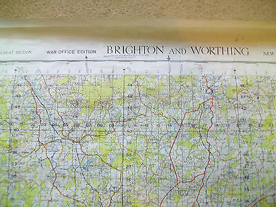 BRIGHTON AND WORTHING - Vintage 1949 Ordnance Survey Map 182 War Office Edition