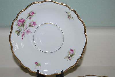 """Edelstein Bavaria Maria Theresia Moss Rose 6"""" Saucer Set of 5 Germany"""