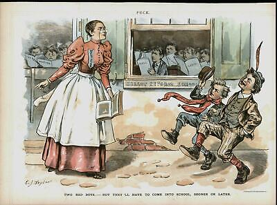 New York Jersey Resist Ballot Reform School 1889 antique color lithograph print