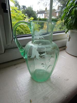 Beautiful RARE 8.5 inch MARK GREGORY Uranium Glass pontilled Glass jug Perfect