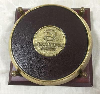 Brass & Leather John Deere Credit Desk/Office Coasters with Holder (2)