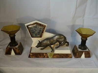 Outstanding Art Deco Sculptural Crouching Fox Clock Garniture Marble And Glass