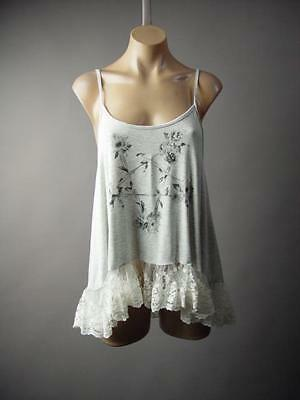 Gray Floral Embroidered Lace Ruffle Victorian Boho Cami Top 224 mv Blouse S M L