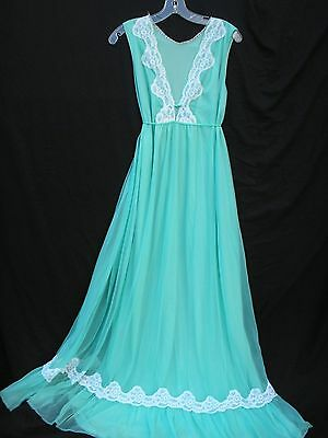 Vintage 1960s Jenelle of California Sage Green Nice Sweep Nightgown Gown sz L/XL