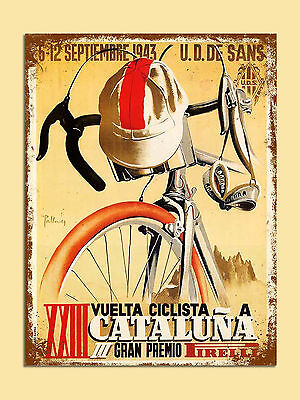 vintage retro style Cataluna cycling poster image metal sign wall door plaque