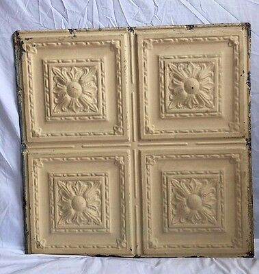 """1890's 24"""" x 24"""" Antique Reclaimed Tin Ceiling Tile  Tan 315-17 Anniversary"""