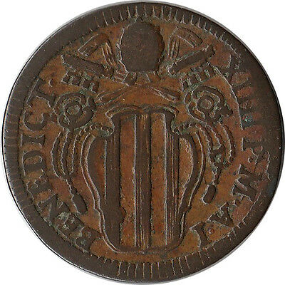 1740 Italy - Papal States (Vatican) 1/2 Baiocco Coin Benedict XIV KM#1153