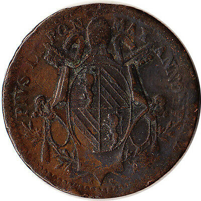 1849 Italy - Papal States (Vatican) 1/2 (Mezzo) Baiocco Coin KM#1340