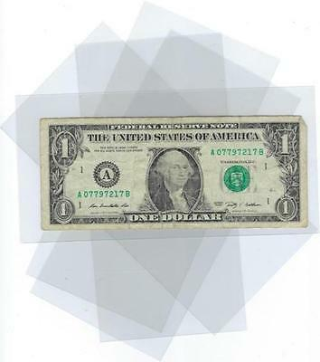 3 Soft Poly Dollar Bill Protector Sleeves Note Holder Currency Dust Cover M-L