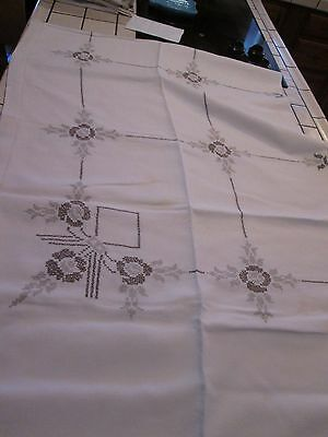 Vintage Tablecloth Counted Cross Stitch Hand Embroidered SHADES OF TAN FLORAL