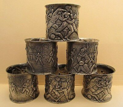 Antique Victorian Reed Barton Football Players Figural Silverplate Napkin Rings