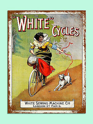 vintage retro style White Cycles advert poster image metal sign wall door plaque