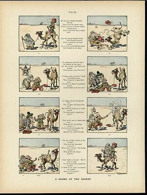 Traveling Sahara Muslim Stereotype Cartoon 1894 antique color lithograph print