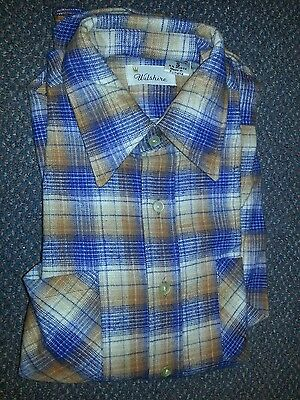 1960's Wilshire flannel mens shirt Small made in Romania NOS