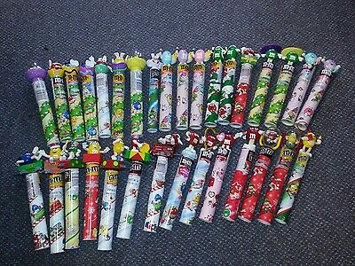 Lot of  32 M&M CANDY tubes with toppers Easter Christmas Train and more SEALED