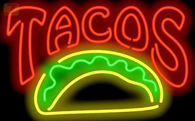 Tacos Mexican Restaurant LARGE Genuine Neon Sign JANTEC USA Fast Free Shipping