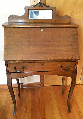 Antique Quarter Sawn Oak Drop Front Secretary Desk W Mirror Backsplash 1900