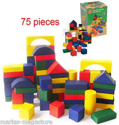 Wooden Building Blocks Kids Childrens Wooden Toys 75 Pieces Assorted Shapes Size
