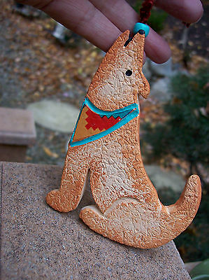 Stunning Clay Howling Coyote Southwestern Native Ornament Christmas Southwest