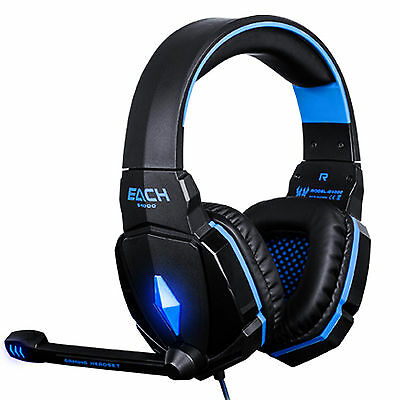 EACH G4000 Blue 3.5mm Surround Sound Gaming Headset Headphone with Microphone