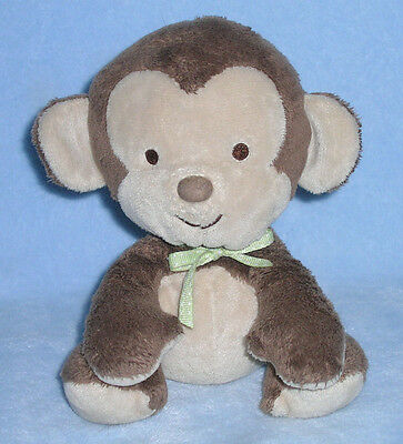 """Carters Brown MONKEY Baby Plush LOVEY Green Bow Stuffed Toy Animal 6.5"""""""
