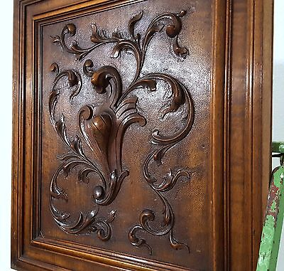 CARVED WOOD PANEL ANTIQUE FRENCH WALNUT COAT OF ARMS SALVAGED CARVING 19th DIY a