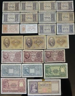 1939-1951 Italy, 1-2-5-10-50-100-500 Lire, Lot Of 23 Notes